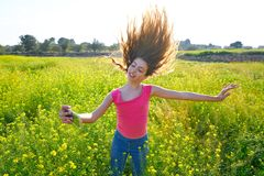 Teen girl selfie video photo spring meadow. Teen girl selfie video photo in spring meadow moving hair royalty free stock photos