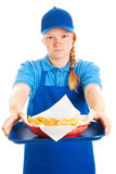 Teen Girl Serves Fast Food Royalty Free Stock Photos