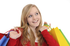 Teen girl shopping. Isolated on white stock photography