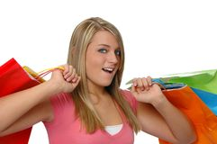 Teen girl with shopping bags Stock Photo