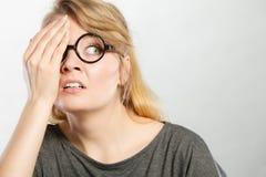 Teen girl showign cringe. Stock Photos