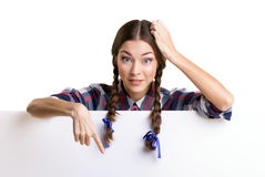 Teen girl   showing board Stock Photo