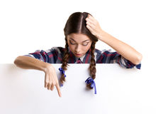 Teen girl   showing board Stock Photos