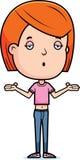 Teen Girl Shrug. A cartoon illustration of a teenage girl shrugging Royalty Free Stock Image