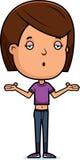 Teen Girl Shrug. A cartoon illustration of a teenage girl shrugging Stock Images