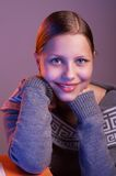 Teen girl sitting at table with books Royalty Free Stock Photography
