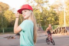 Teen girl at skatepark Stock Photo