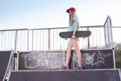 Teen girl at skatepark Royalty Free Stock Image