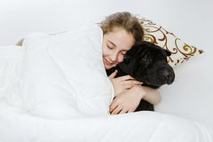 Teen girl sleeping with dog. Beautifl teenage girl lying in bed and sleeping with black shar-pei dog. Eyes closed. Copy space Royalty Free Stock Images