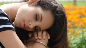 Teen Girl Sleeping. Young teen pretty hispanic girl Royalty Free Stock Photos