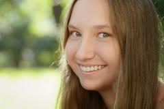 Teen girl smiling on outdoor walk Stock Photography