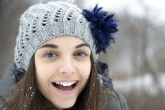 Teen girl in the snow Stock Image
