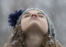 Teen girl in the snow Royalty Free Stock Image