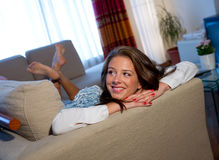 Teen girl on the sofa Stock Image