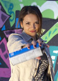 Teen Girl with Spray Paint Can Royalty Free Stock Photo