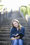 Teen Girl on Stairway Stock Photos