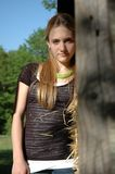 Teen Girl standing in barn Stock Photos