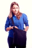 Teen girl standing with schoolbag Royalty Free Stock Image
