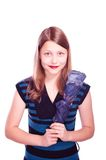 Teen girl staying with umbrella Royalty Free Stock Photo