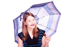 Teen girl staying under umbrella Royalty Free Stock Photos