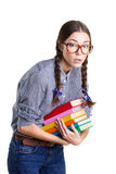 Teen girl with stick of books Royalty Free Stock Photo
