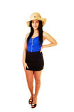 Teen girl with straw hat. Royalty Free Stock Image