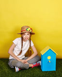 Teen girl in a straw hat. Stock Photo