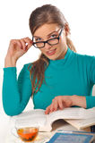 Teen girl studying Stock Photo