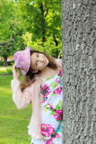 Teen girl in a summer hat Royalty Free Stock Photo
