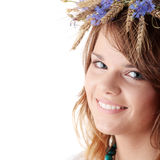 Teen girl in summer wreath Stock Photo