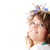 Teen girl in summer wreath Royalty Free Stock Photography