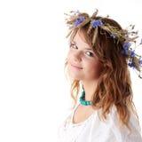 Teen girl in summer wreath Royalty Free Stock Photo