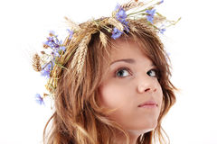 Teen girl in summer wreath Royalty Free Stock Images