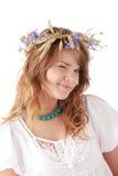 Teen girl in summer wreath Stock Image