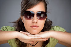 Teen girl with sunglasses Stock Photo