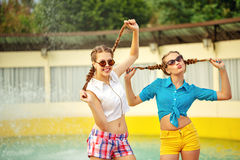 Teen girl in sunglasses have fun. Stock Photography