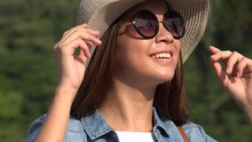 Teen Girl With Sunglasses On Sunny Day stock footage