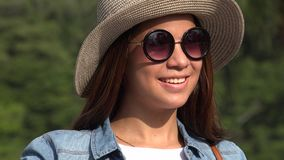 Teen Girl Sunny Day Wearing Sunglasses Royalty Free Stock Photos