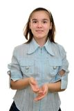 Teen girl are surprised, holding hands Stock Photography