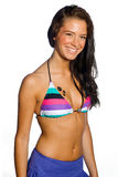 Teen girl in swimsuit. Smiling teen girl in swimsuit with cat paw tatoo Royalty Free Stock Photos