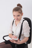 Teen girl with tablet Stock Photo