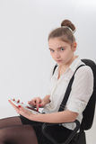 Teen girl with tablet Royalty Free Stock Photos