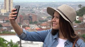 Teen Girl Taking Selfies Stock Photo