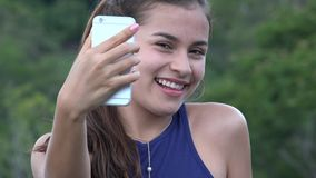 Teen Girl Taking Selfy With Cell Phone stock video footage