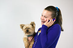 Teen girl talking on the phone Stock Photos