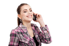 Teen girl talking on the phone Royalty Free Stock Photos
