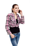 Teen girl talking on the phone Royalty Free Stock Photography