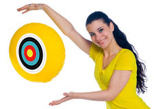 Teen girl with target balloon Royalty Free Stock Image