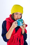 Teen girl with tea cup Stock Images