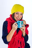 Teen girl with tea cup Royalty Free Stock Image